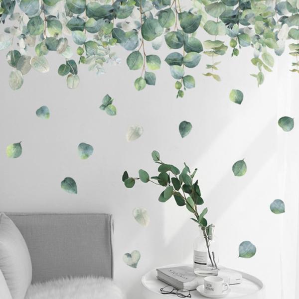 Green leafs mural