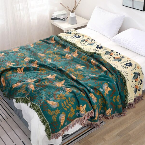 bird and leaf turquoise blanket
