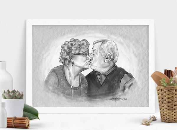 grandparents couple portrait mockup