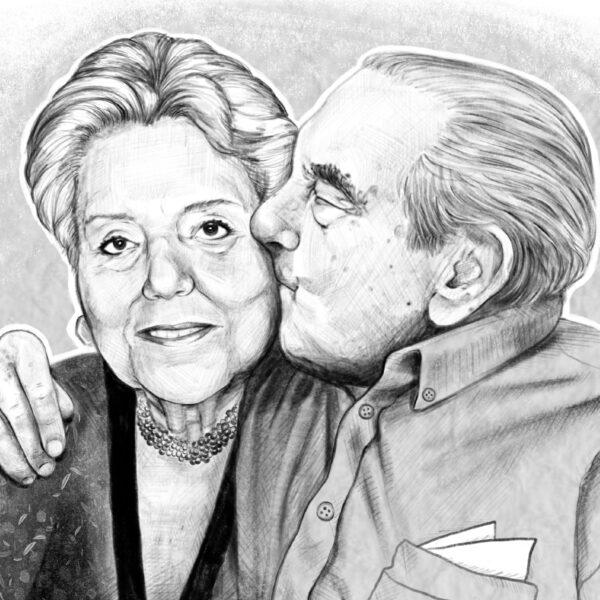married couple portrait detail